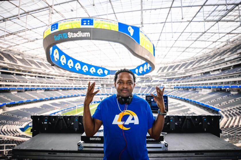 DJ Jamal McCoy at his workstation at SoFi Stadium in Inglewood.