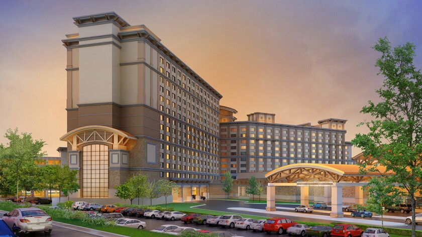 A rendering shows the 349-room hotel tower Pala Casino Spa & Resort was planning to build as part of a $170 million expansion. Citing economic pressures, Pala executives last year postponed construction. And as of the new year, the casino also has a new CEO, Fred A. Buro.