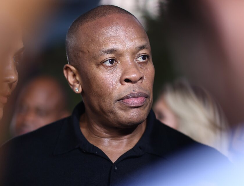 "Dr. Dre arrives at the Los Angeles premiere of ""Straight Outta Compton"" at the Microsoft Theater on Aug. 10, 2015."