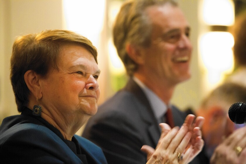 Sheila Kuehl and Bobby Shriver during a recent debate. Although both are liberal-leaning Democrats, Kuehl is viewed as more labor-friendly and Shriver more sympathetic toward business.