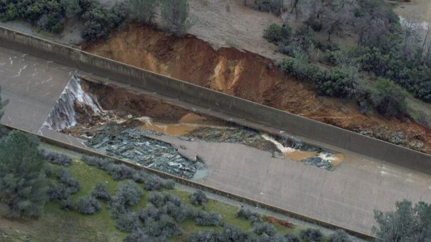 Damage to the main spillway at Oroville Dam.