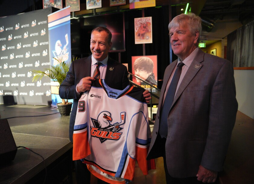 Kevin Dineen (left) was introduced as the Gulls' new head coach by San Diego General Manager Bob Ferguson during a press conference on Monday at Pechanga Arena San Diego.