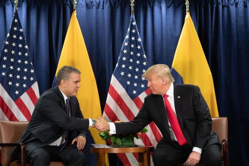 Fotografía cedida por La Casa Blanca, donde aparece el presidente estadounidense, Donald Trump (d), durante una reunión con su homólogo colombiano, Iván Duque (i), hoy, martes 25 de septiembre de 2018, en la sede de la ONU, en Nueva York (EE.UU.). EFE/Shealah Craighead/La Casa Blanca/SOLO USO EDITORIAL/NO VENTAS