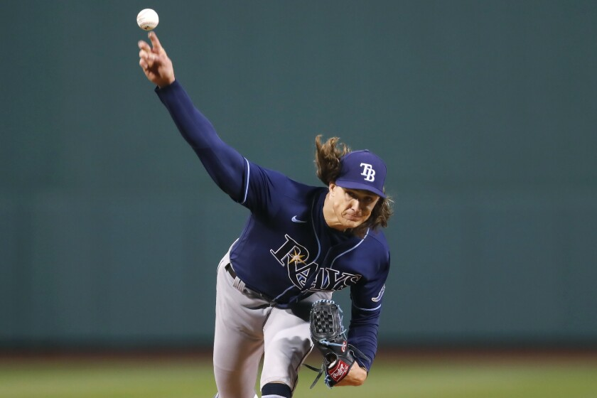 Tampa Bay Rays' Tyler Glasnow pitches during the first inning of the team's baseball game against the Boston Red Sox, Tuesday, April 6, 2021, in Boston. (AP Photo/Michael Dwyer)