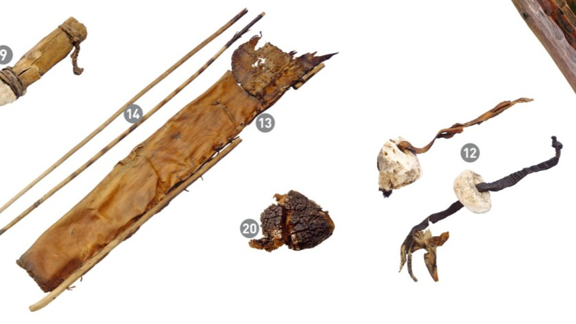 Some of the equipment found with the Iceman included a stone dagger, bows, leather quiver, tinder fungus, birch fungus and birch bark.