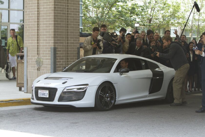 Tony Stark, played by Robert Downey Jr., is seen driving an Audi R8 e-tron in 'Iron Man 3.' The film is due in theaters May 3.