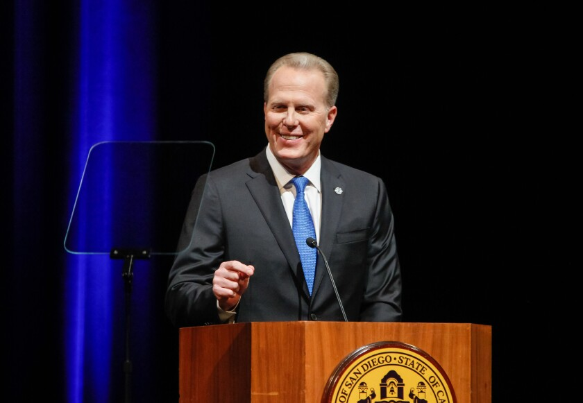 San Diego Mayor Kevin Faulconer delivers his 2019 State of the City speech at the Balboa Theatre downtown. He is scheduled to give his final annual address Wednesday night at the Balboa Theatre at 6 p.m. Doors open at 5 p.m. and admission is free.