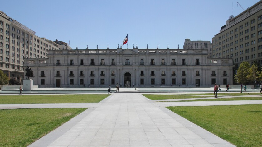 The public plaza in front of the La Moneda palace in Santiago
