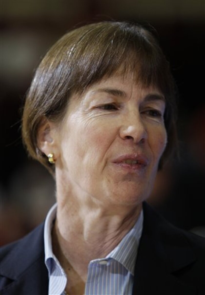 Stanford head coach Tara VanDerveer smiles against St. John's in the first half of a second-round NCAA women's college basketball tournament game in Stanford, Calif., Monday, March 21, 2011. (AP Photo/Paul Sakuma)