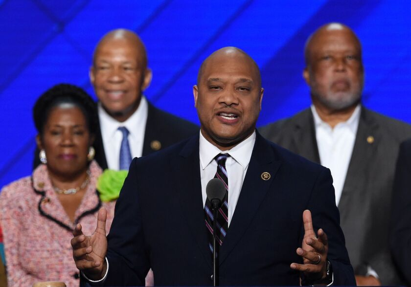 Rep. Andre Carson of Indiana speaks on the third day of the Democratic National Convention.