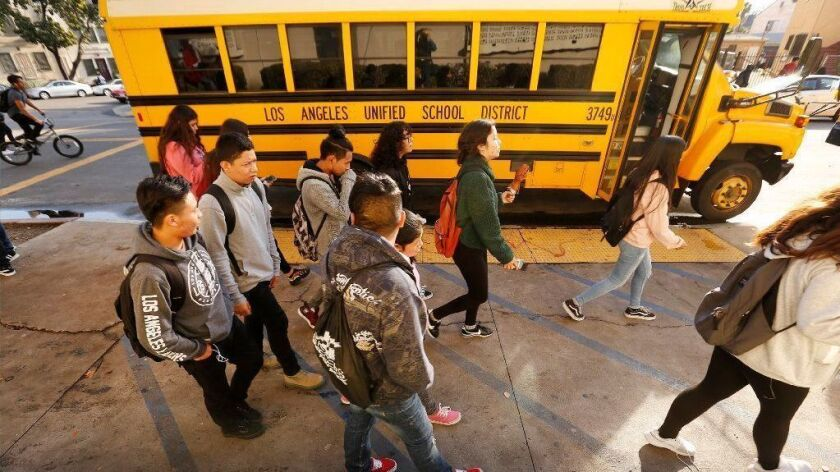 Students depart Belmont High School in Los Angeles on Jan. 7 after the first day of class in 2019.