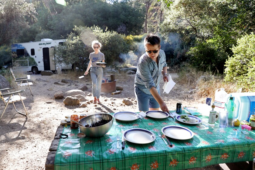 Daniel Miller and his wife Jessica, left, at Wheeler Gorge Campground in the Los Padres National Forest.