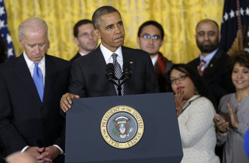 President Obama, with Vice President Joe Biden and others, urges Congress to take up comprehensive immigration reform in a speech Thursday at the White House.