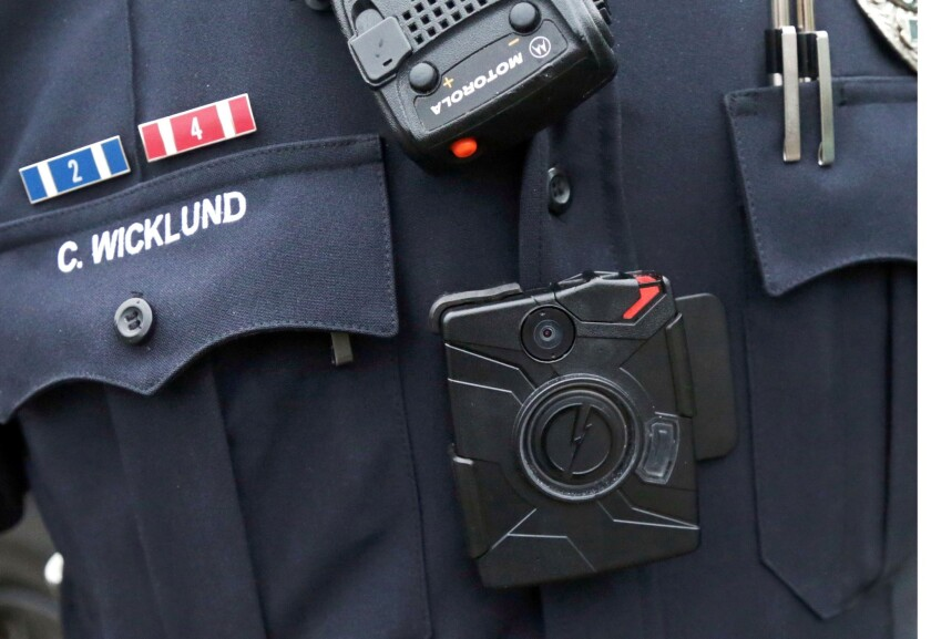 Sgt. Chris Wicklund of the Burnsville (Minn.) Police Department wears a body camera beneath his microphone.