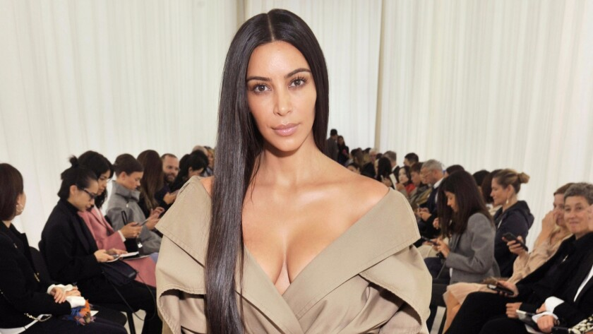 Kim Kardashian West makes an appearance at Balenciaga's spring 2017 show.