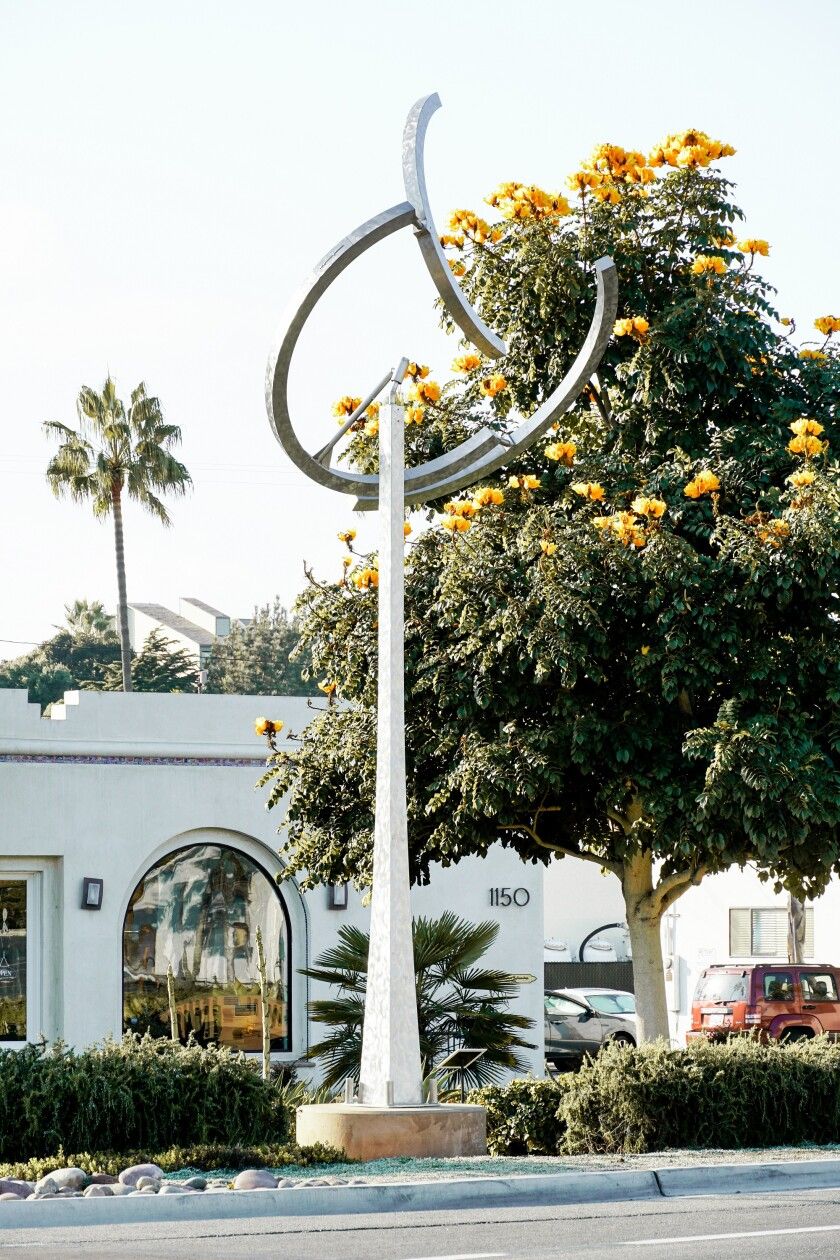 Orpheus, a kinetic sculpture by artist Jeffery Laudenslager, has been donated to the City of Encinitas.