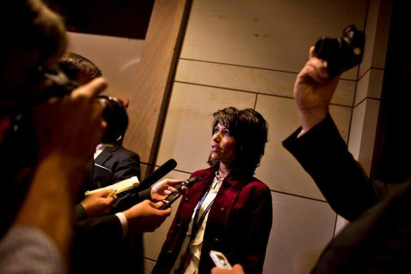 Incoming US Republican Congresswoman from South Dakota, Kristi Noem chats with the media during freshman orientation meetings on Capitol Hill in Washington, DC, USA. EFE/EPA/File