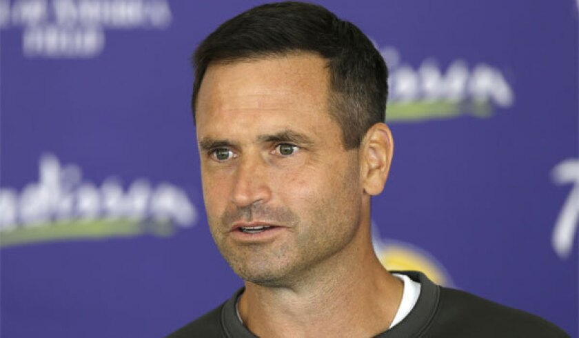 Minnesota special teams coach Mike Priefer, shown in July 2013, defended himself Thursday against allegations made by former Vikings punter Chris Kluwe.