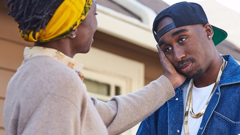 Demetrius Shipp Jr. stars as Tupac Shakur with Danai Gurira as his mother Afeni Shakur.