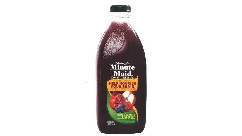 """Minute Maid's """"pomegranate-blueberry"""" juice blend product is less than 1% pomegranates and blueberries."""