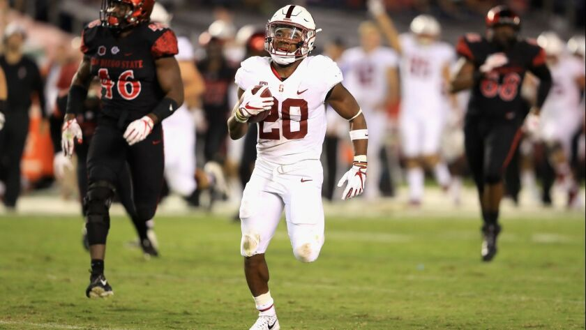 Stanford's Bryce Love scores one of his two long touchdown runs against SDSU last season.