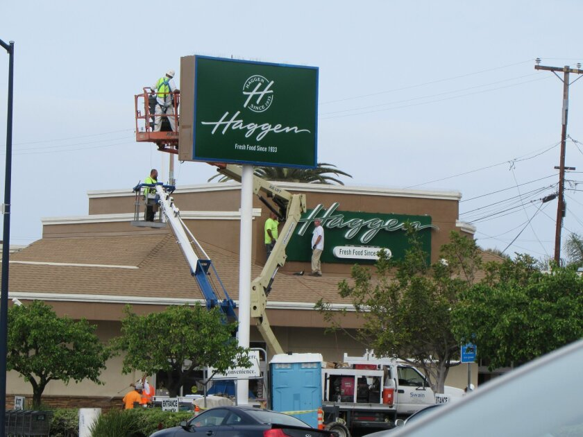 The new ownership signs for Haggen grocery store went up March 18 in the north Pacific Beach space formerly occupied by Albertsons.