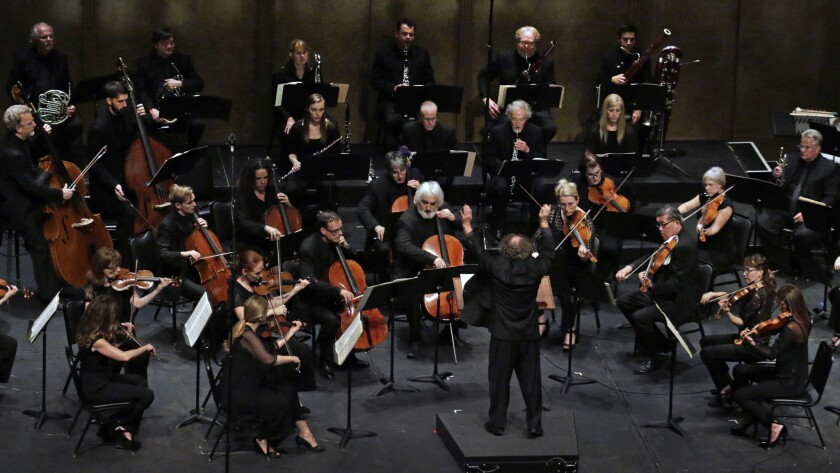 Jeffrey Kahane conducts the Los Anglees Chamber Orchestra at Royce Hall in 2015.