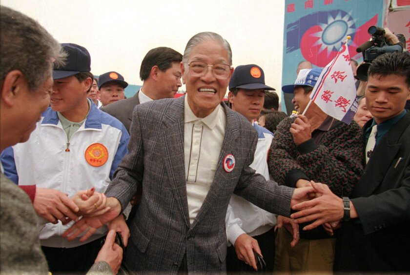 President Lee Teng-hui is congratulated on his reelection at a celebration rally in Taipei, Taiwan, in 1996.