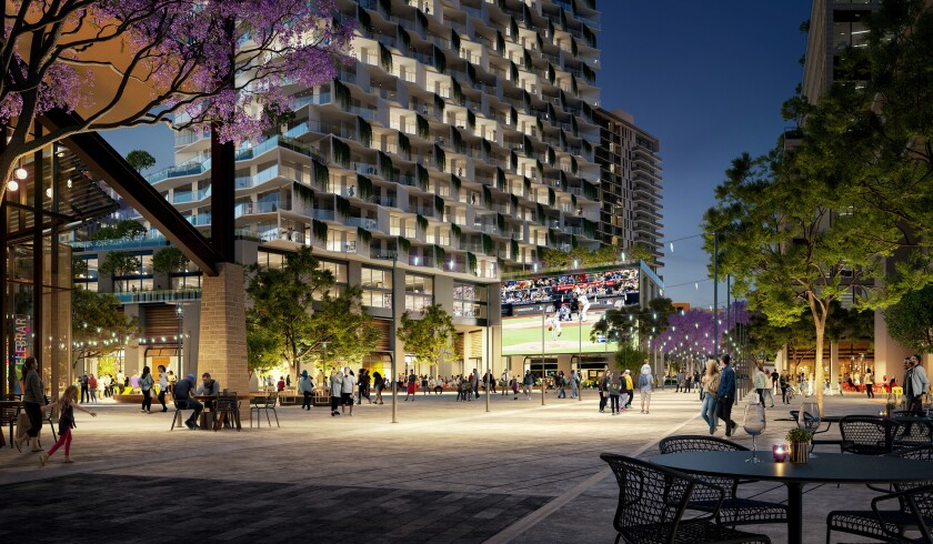 A rendering of an outdoor plaza in the Padres development plan for Tailgate Park.