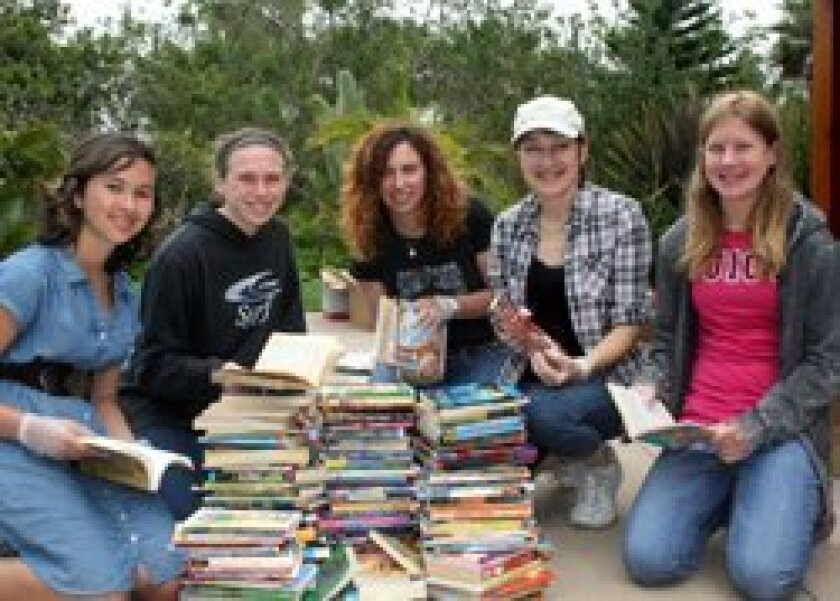 Teen Korps Book Drive Team, left to right: Laila Voss, Erin Bentel, Tiffany Bentel, Patricia Tirona, Elizabeth Honeycutt.
