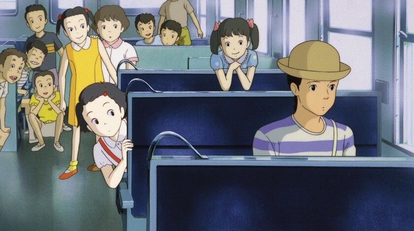 Taeko in public transit in 'Only Yesterday'