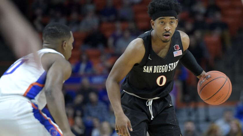 SDSU's Devin Watson brings the ball down the court during the first half of Saturday's game against Boise State's Marcus Dickinson.