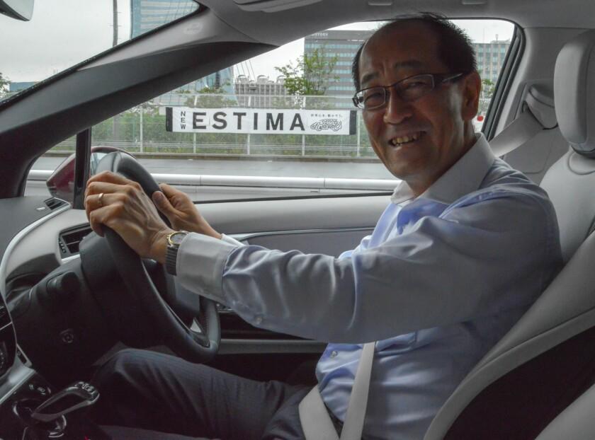 Yoshikazu Tanaka, chief engineer of the Toyota Mirai, behind the wheel of the hydrogen-powered car.
