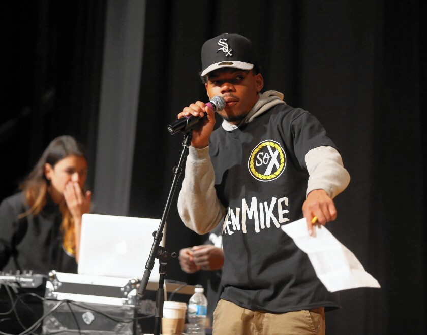 """Chance the Rapper hosts a high school """"Open Mike"""" night in Chicago in February."""
