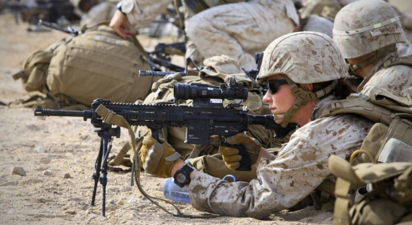 Sgt. Kelly Brown, a member of the Marine Corps' Ground Combat Element Integrated Task Force, was assessed at the Twentynine Palms combat center to determine if women will be allowed in the infantry and similar units.