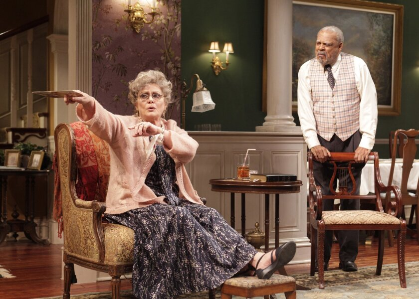 Elizabeth Ashley (Stella Gordon) and Roger Robinson (Doug) in the West Coast premiere of Horton Foote's 'Dividing the Estate,' now at The Old Globe Theatre. Henry DiRocco.