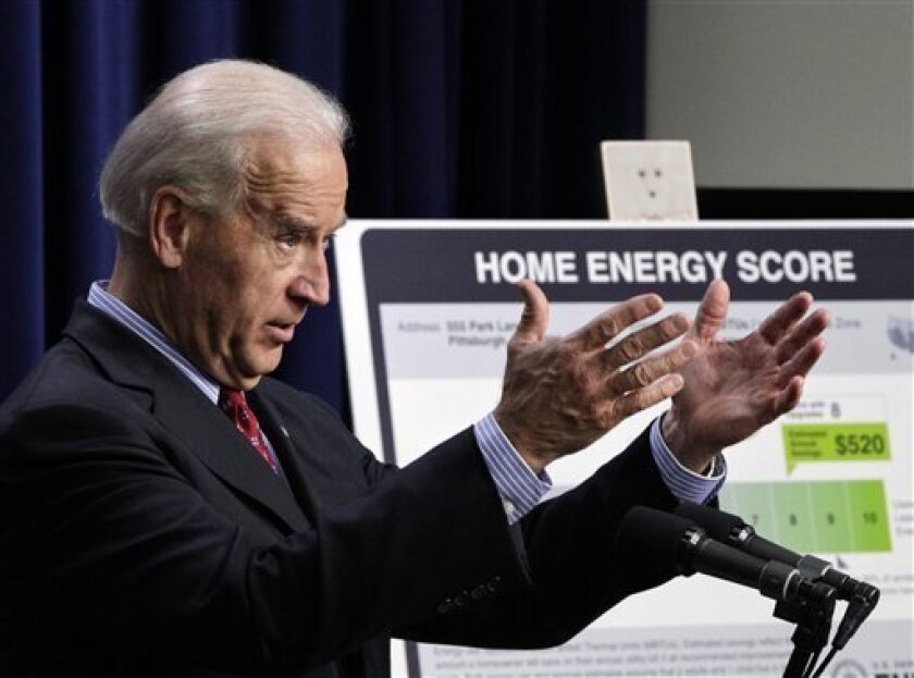 Vice President Joe Biden discusses a new federal program to make it easier for Americans to make their homes more energy efficient, Tuesday, Nov. 9, 2010, in the Eisenhower Executive Office Building on the White House complex. (AP Photo/J. Scott Applewhite)