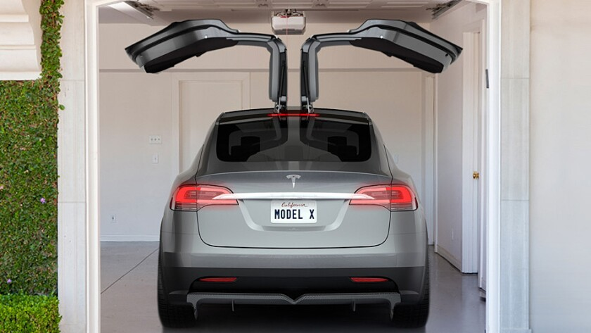 """Tesla's highly anticipated Model X crossover vehicle will feature dramatic """"falcon"""" doors, seen here in concept art for the SUV, expected next year."""