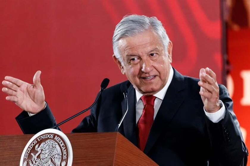 President of Mexico, Andres Manuel Lopez Obrador, speaks during his morning press conference at the National Palace in Mexico City, Mexico, Feb. 5, 2019. Lopez Obrador said on Tuesday that he will not respond to accusations by White House chief Donald Trump, and attributed the Republican's remarks to Mexico as 'electoral purposes'. EPA-EFE / Jose Mendez