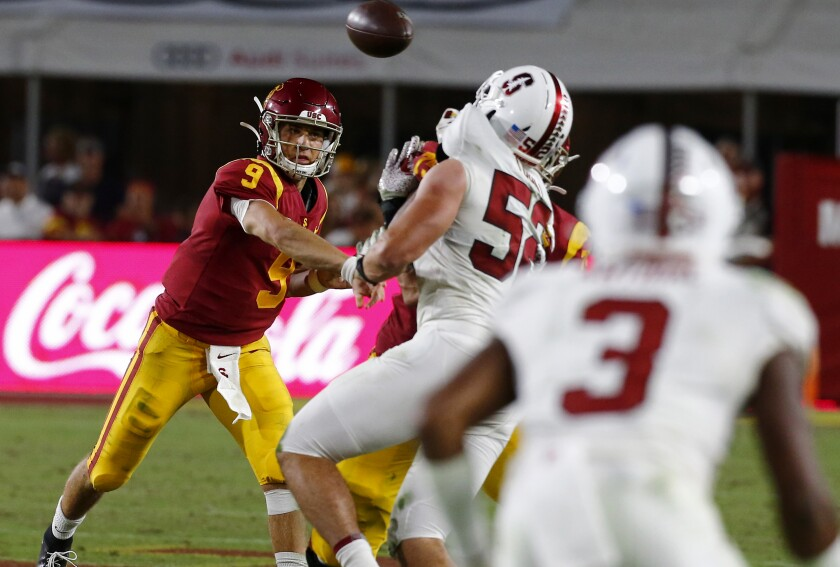 USC quarterback Kedon Slovis helped the Trojans defeat No. 23 Stanford in his first start.