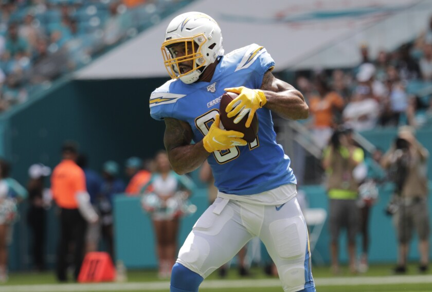 Chargers tight end Lance Kendricks catches a pass during the first half of a 30-10 victory over the Miami Dolphins on Sunday.