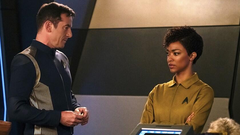 "Jason Isaacs and Sonequa Martin-Green in ""Star Trek: Discovery"" on CBS."