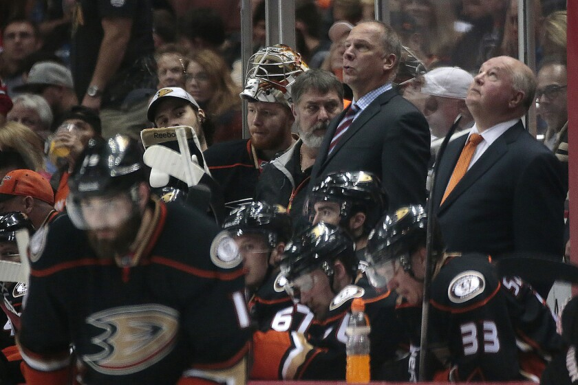 Bruce Boudreau looks up at the scoreboard late in the third period of the Ducks' Game 7 loss to the Chicago Blackhawks in the Western Conference finals.