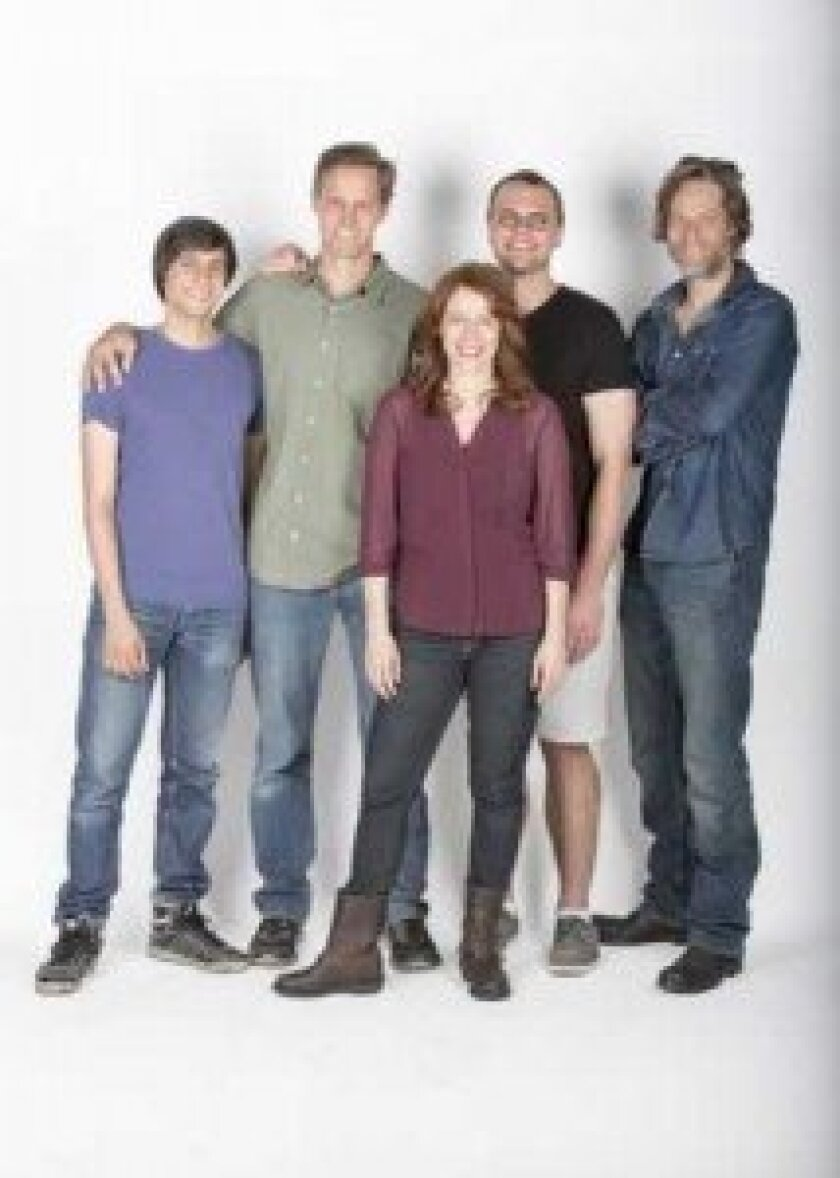 Director Davis McCallum (second from left) and playwright Samuel D. Hunter (second from right) with the cast of 'The Few': (from left) Gideon Glick, Eva Kaminsky and Michael Laurence. Jim Cox