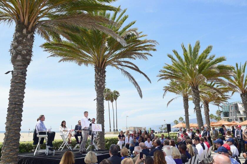 LA 2024 Chairman Casey Wasserman speaks at a news conference on Sept. 1 in Santa Monica.