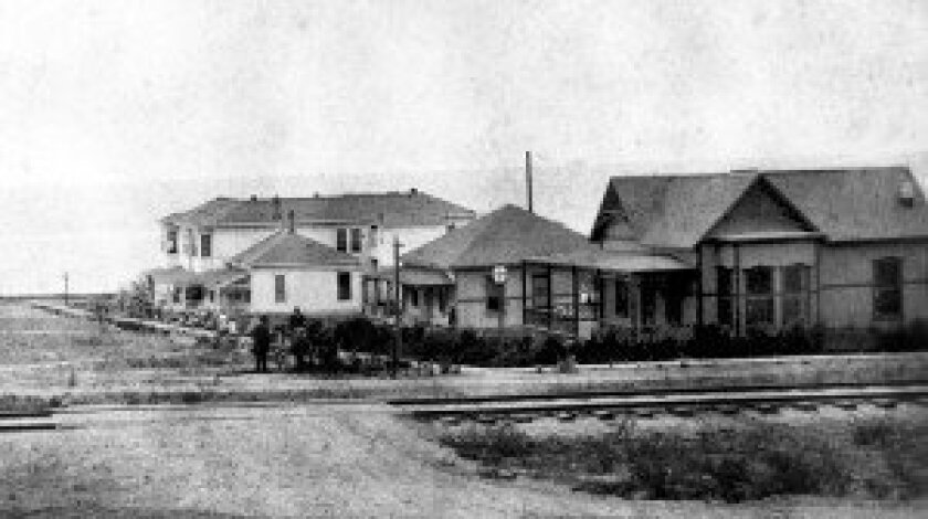 A view of 10th Street, looking west, circa 1890. The Alvarado House, built in 1885, was situated at 144 10th St. (second from right). It was bought by the Del Mar Historical Society and now resides at the San Diego County Fairgrounds, still up on moving blocks. Photo courtesy of the Del Mar Historical Society