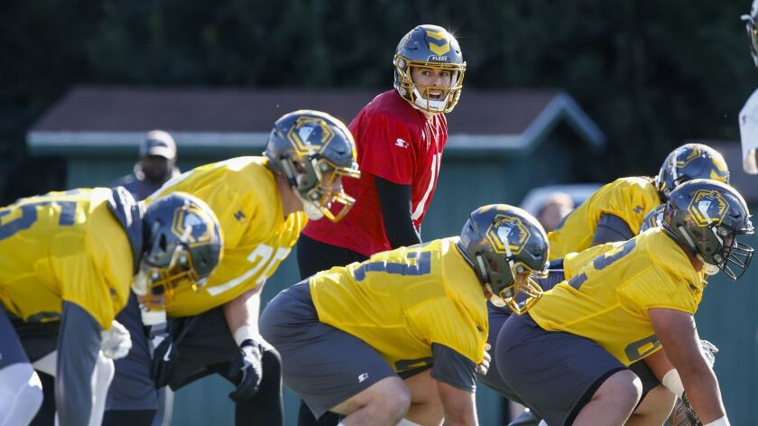 Mike Bercovici quarterbacks the San Diego Fleet at practice Wednesday at the University of San Diego.