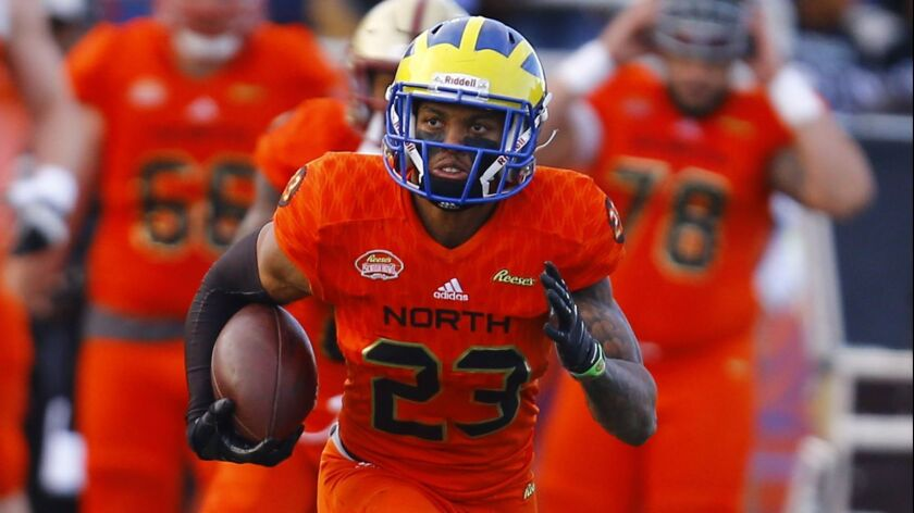 North safety Nasir Adderley of Delaware (23) carries the ball after an interception during the secon