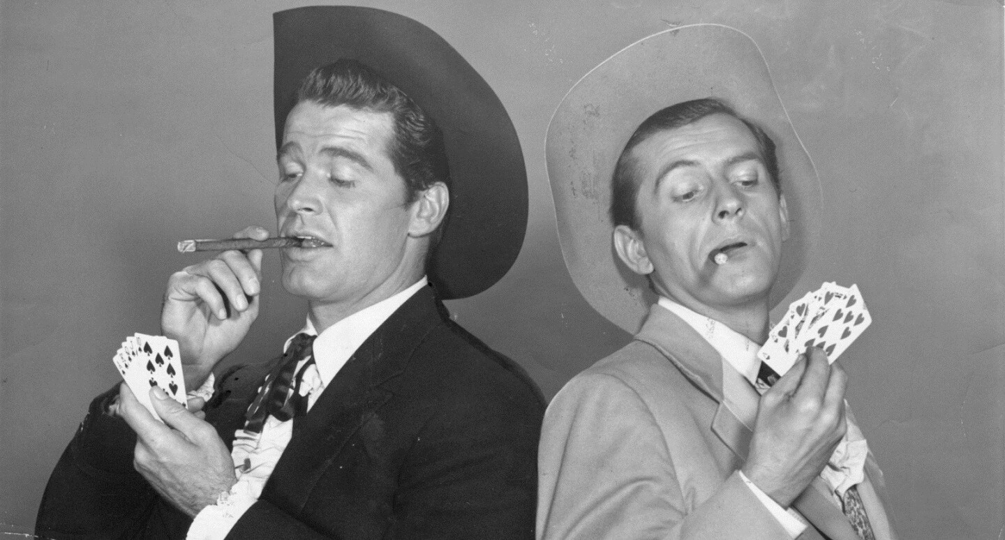 """James Garner and Jack Kelly in 1959 as brothers Bret and Bart Maverick in the comedic TV western """"Maverick."""""""