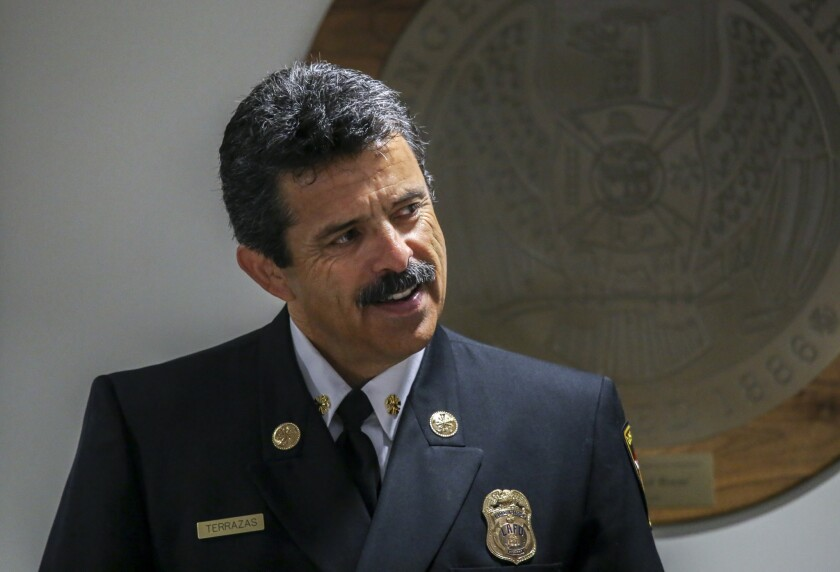 L.A. Fire Chief Ralph M. Terrazas attends the city Fire Commission meeting Tuesday. The Fire Commission voted 5 to 0 to reorganize the LAFD bureau responsible for ensuring that buildings meet fire-safety codes and to increase the number of inspectors.